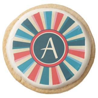 Grunge Red White and Blue Sunburst with Monogram Round Shortbread Cookie