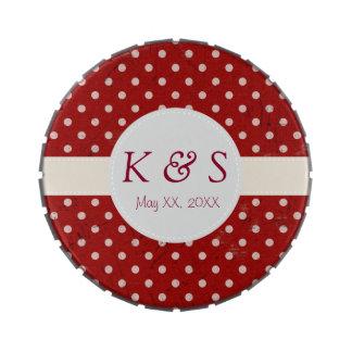 Grunge Red White Dot Pattern Monogram Candy Tin