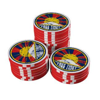 Grunge redondo libre de Tíbet Juego De Fichas De Póquer