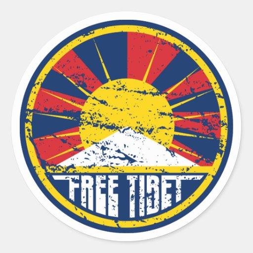 Grunge redondo libre de Tíbet Pegatina Redonda