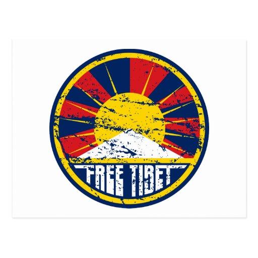 Grunge redondo libre de Tíbet Tarjetas Postales