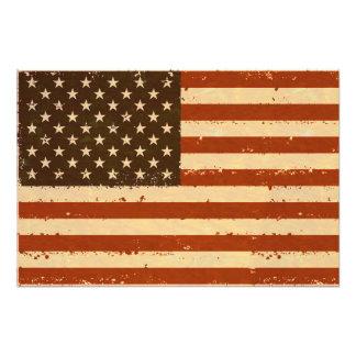 Grunge Retro American Flag Photo Print