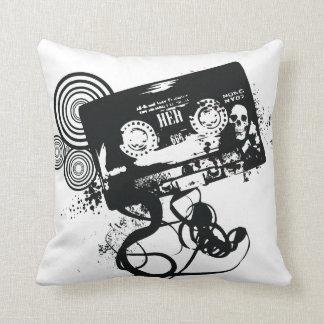 Grunge Retro Audio Tape & Skull Throw Pillow