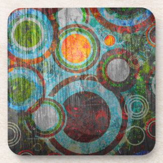 Grunge Retro Circles Coaster