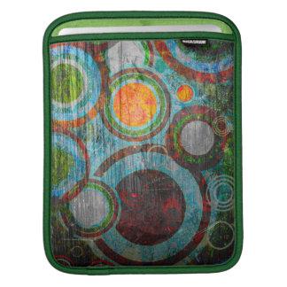 Grunge Retro Circles Green, Red, Blue, Orange iPad Sleeve