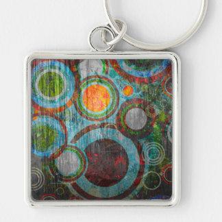 Grunge Retro Circles Keychain