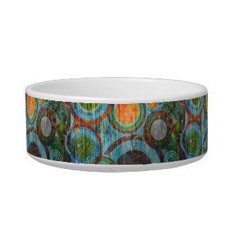 Grunge Retro Circles Cat Water Bowl