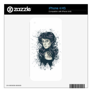 Grunge Retro Girl 2 iPhone 4S Decal