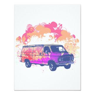grunge retro hippie van 4.25x5.5 paper invitation card