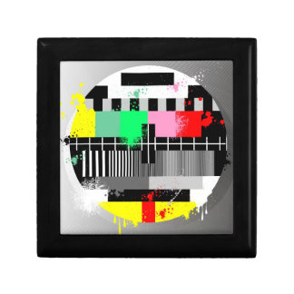 Grunge retro television test screen jewelry box
