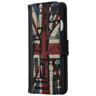 Grunge Retro Union Jack Love London Symbols Wallet Phone Case For iPhone 6/6s