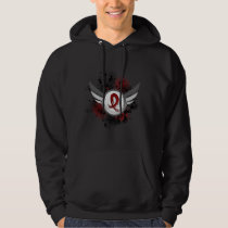 Grunge Ribbon And Wings Amyloidosis Hoodie