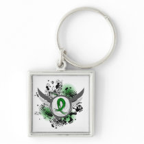 Grunge Ribbon and Wings Gastroparesis Keychain