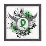 Grunge Ribbon and Wings Gastroparesis Premium Trinket Box
