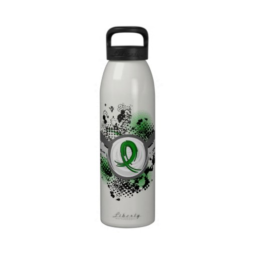 Grunge Ribbon and Wings Gastroparesis Water Bottle