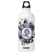 Grunge Ribbon And Wings Lymphedema Water Bottle