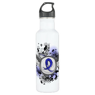 Grunge Ribbon and Wings Reye's Syndrome Water Bottle