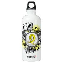 Grunge Ribbon and Wings Spina Bifida Water Bottle