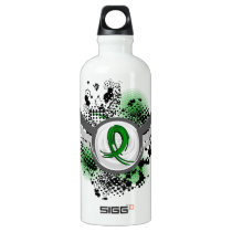 Grunge Ribbon and Wings Traumatic Brain Injury TBI Aluminum Water Bottle