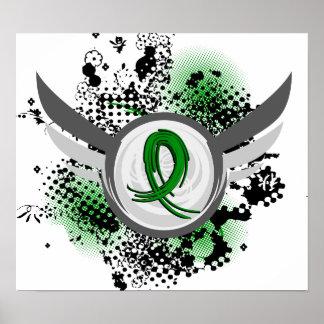Grunge Ribbon and Wings Traumatic Brain Injury TBI Poster