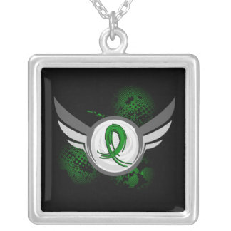 Grunge Ribbon and Wings Traumatic Brain Injury TBI Square Pendant Necklace
