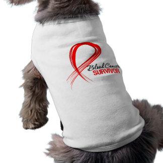 Grunge Ribbon Blood Cancer Survivor Doggie Tee Shirt