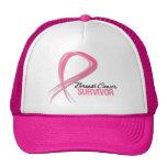 Grunge Ribbon Breast Cancer Survivor Mesh Hats