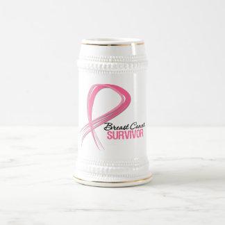 Grunge Ribbon Breast Cancer Survivor Mug