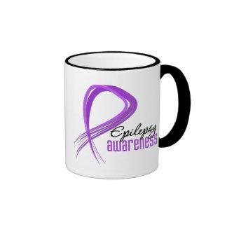 Grunge Ribbon Epilepsy Awareness Ringer Coffee Mug