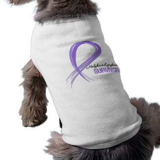 Grunge Ribbon Hodgkin s Lymphoma Survivor Doggie Tshirt