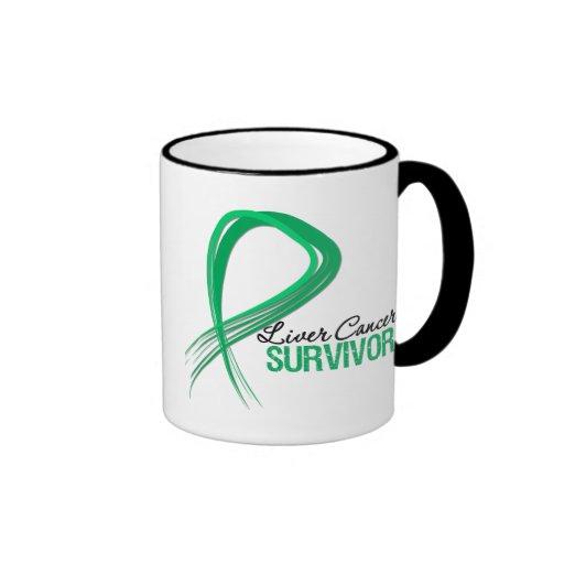 Grunge Ribbon Liver Cancer Survivor Ringer Coffee Mug