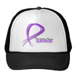 Grunge Ribbon Pancreatic Cancer Survivor Hats