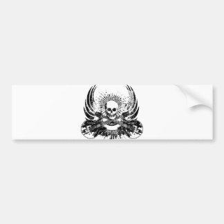 Grunge Rock Skull with Guitars Bumper Sticker