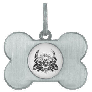Grunge Rock Skull with Guitars Pet ID Tag