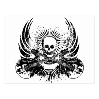 Grunge Rock Skull with Guitars Postcard