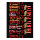 Grunge rojo del negro del oro del cumpleaños invitación 16,5 x 22,2 cm