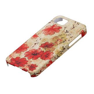 Grunge rojo floral iPhone 5 carcasas