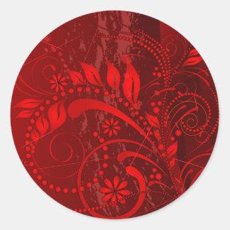 grunge rojo etiquetas redondas