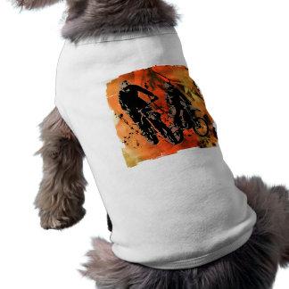 Grunge rojo y anaranjado del dúo de Dirtbiker Camisa De Perrito