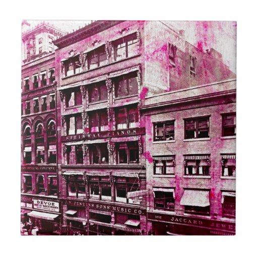 Grunge rosado de Kansas City del vintage Teja Ceramica