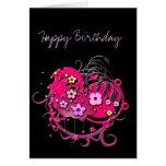 Grunge rosado de la flor adaptable tarjetón