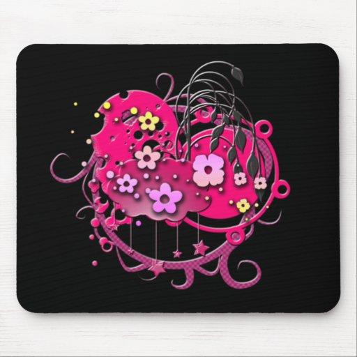 Grunge rosado de la flor tapete de ratón