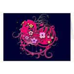 Grunge rosado de la flor tarjetas
