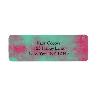 Grunge rosado y verde pintado abstracto etiqueta de remite