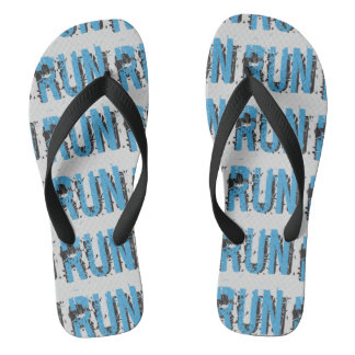 Grunge RUN themed Flip Flops