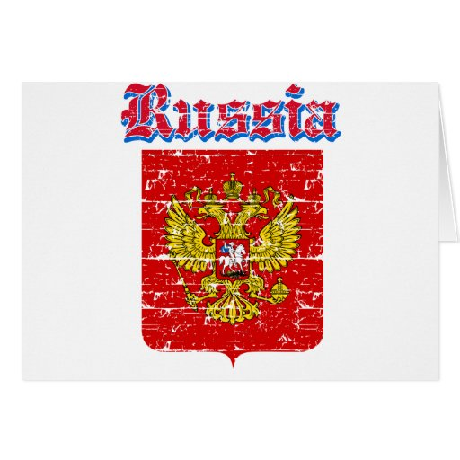 Grunge Russia coat of arms designs Greeting Card