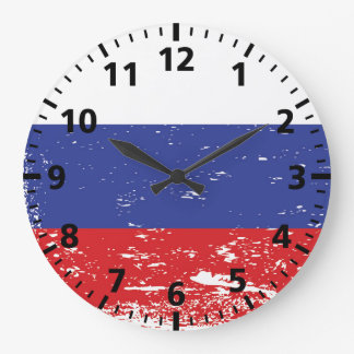 Grunge Russia Flag Large Clock