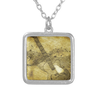 Grunge Rustic Guitar Illustration Silver Plated Necklace