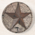 Grunge rustic metallic Texas star western country Coaster