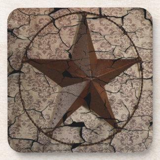 Grunge rustic Texas star western country art Coaster